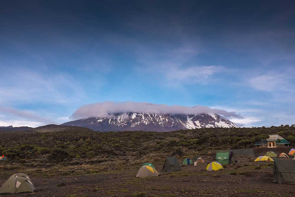 Kilimanjaro top view snows, the highest mountain in Africa